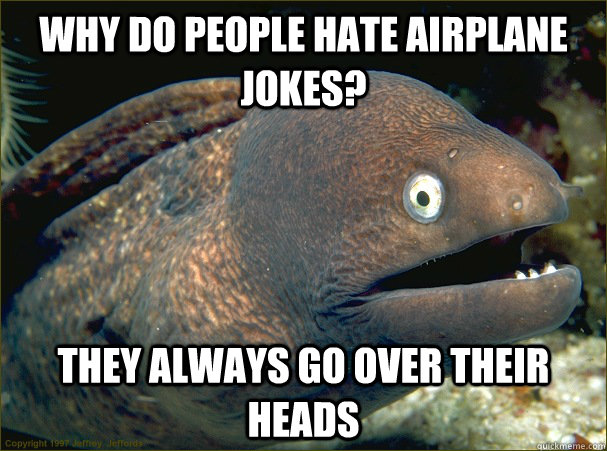 Why do people hate airplane jokes? they always go over their heads  - Why do people hate airplane jokes? they always go over their heads   Bad Joke Eel
