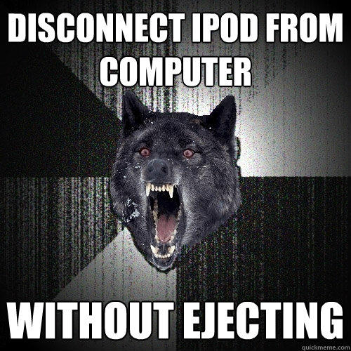 Disconnect Ipod from computer without ejecting - Disconnect Ipod from computer without ejecting  Insanity Wolf