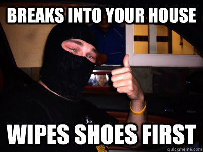 Breaks into your house Wipes Shoes first  Good Guy Burglar