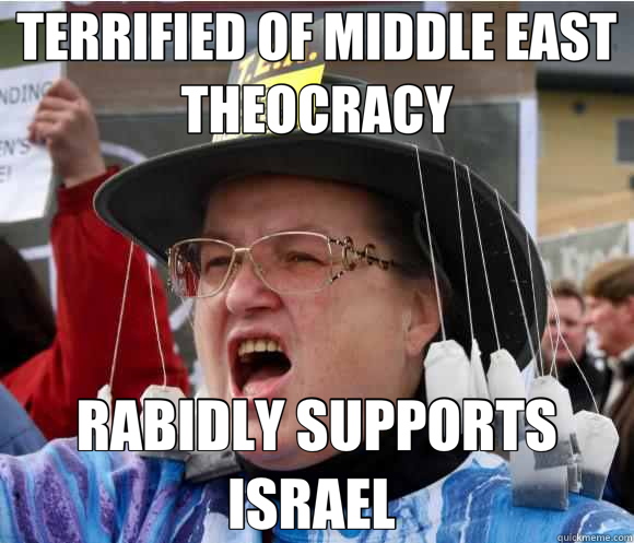 TERRIFIED OF MIDDLE EAST THEOCRACY RABIDLY SUPPORTS ISRAEL