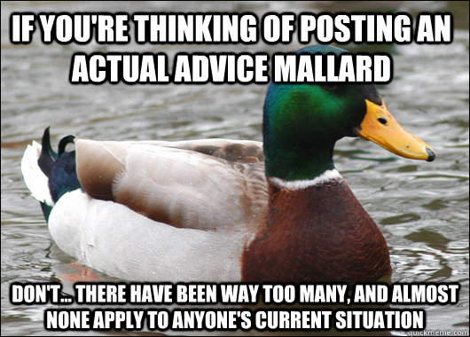 if you're thinking of posting an actual advice mallard don't... there have been way too many, and almost none apply to anyone's current situation - if you're thinking of posting an actual advice mallard don't... there have been way too many, and almost none apply to anyone's current situation  Actual Advice Mallard