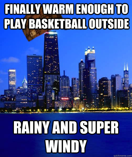 Finally warm enough to play basketball outside rainy and super windy
