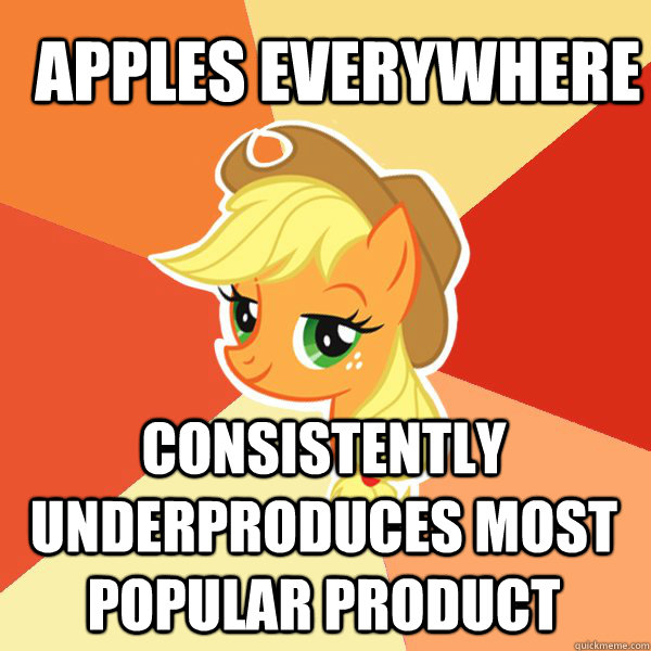Apples everywhere Consistently underproduces most popular product - Apples everywhere Consistently underproduces most popular product  Applejack