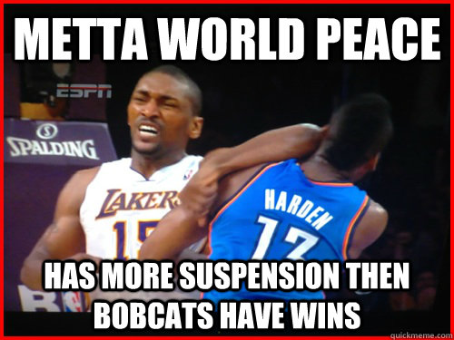 Metta world peace has more suspension then bobcats have wins