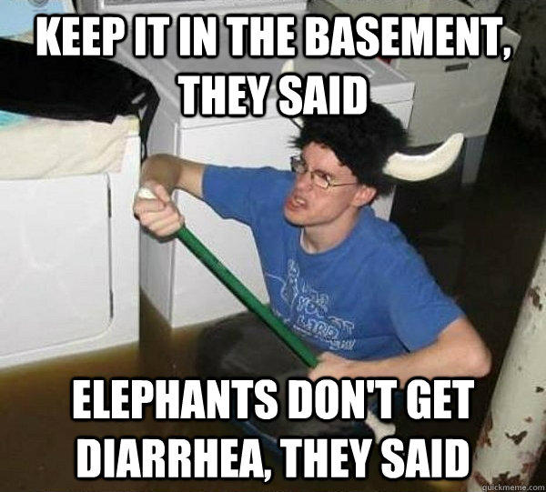 Keep it in the basement, they said Elephants don't get diarrhea, they said - Keep it in the basement, they said Elephants don't get diarrhea, they said  They said