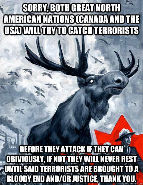 Sorry, both great north american nations (canada and the USA) will try to Catch terrorists Before they attack if they can obiviously, if not they will never rest until said terrorists are brought to a bloody end and/or justice, thank you.  - Sorry, both great north american nations (canada and the USA) will try to Catch terrorists Before they attack if they can obiviously, if not they will never rest until said terrorists are brought to a bloody end and/or justice, thank you.   Canada Day