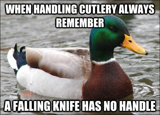 when handling cutlery always remember  a falling knife has no handle - when handling cutlery always remember  a falling knife has no handle  Actual Advice Mallard