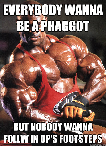Everybody wanna be a phaggot But nobody wanna follw in OP's footsteps  Ronnie Coleman Misc
