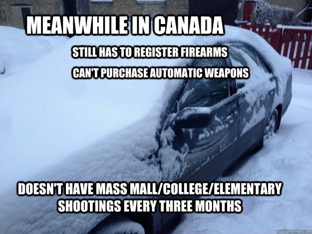 Meanwhile in Canada still has to register firearms can't purchase automatic weapons   doesn't have mass mall/college/elementary  shootings every three months