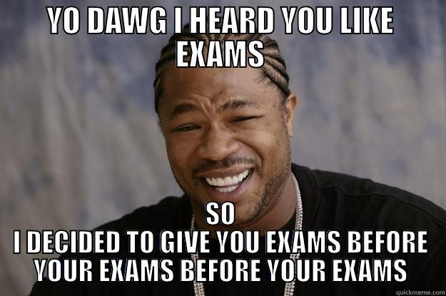 YO DAWG I HEARD YOU LIKE EXAMS SO I DECIDED TO GIVE YOU EXAMS BEFORE YOUR EXAMS BEFORE YOUR EXAMS Xzibit meme