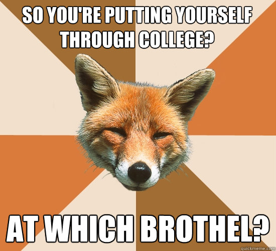 So you're putting yourself through college? At which brothel? - So you're putting yourself through college? At which brothel?  Condescending Fox