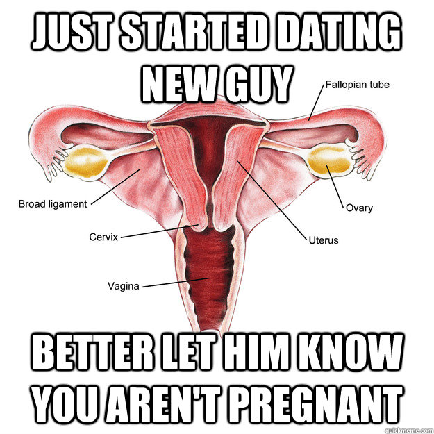 Just started dating new guy Better let him know you aren't pregnant - Just started dating new guy Better let him know you aren't pregnant  Scumbag Uterus