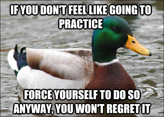 If you don't feel like going to practice force yourself to do so anyway, you won't regret it - If you don't feel like going to practice force yourself to do so anyway, you won't regret it  Actual Advice Mallard