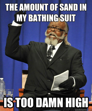 The amount of sand in my bathing suit IS too damn high - The amount of sand in my bathing suit IS too damn high  The Rent Is Too Damn High