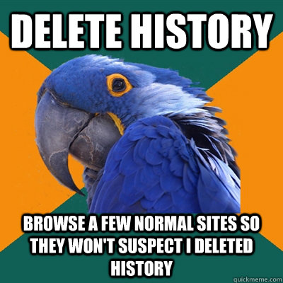 Delete History Browse a few normal sites so they won't suspect I deleted history - Delete History Browse a few normal sites so they won't suspect I deleted history  Paranoid Parrot