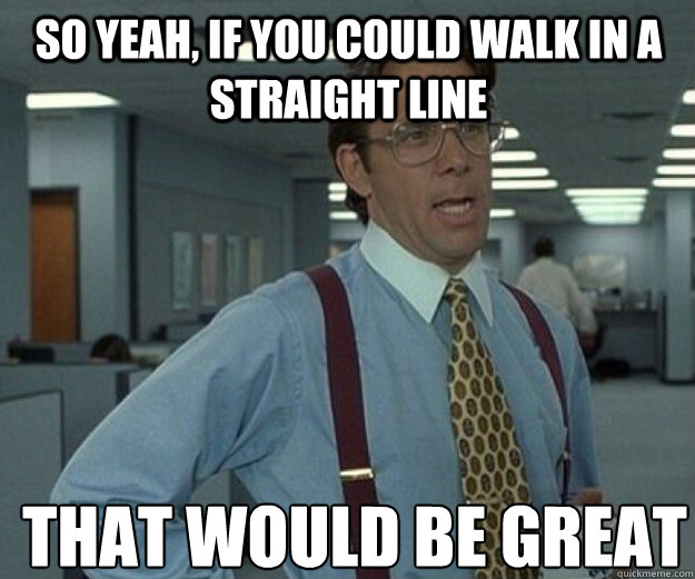 So yeah, if you could walk in a straight line  THAT WOULD BE GREAT - So yeah, if you could walk in a straight line  THAT WOULD BE GREAT  that would be great