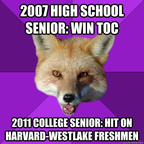 2007 HIGH SCHOOL SENIOR: WIN TOC 2011 COLLEGE SENIOR: HIT ON HARVARD-WESTLAKE FRESHMEN - 2007 HIGH SCHOOL SENIOR: WIN TOC 2011 COLLEGE SENIOR: HIT ON HARVARD-WESTLAKE FRESHMEN  Forensics Fox