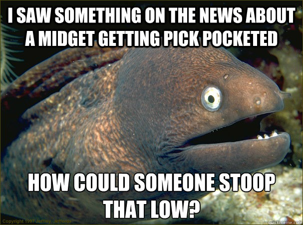 i saw something on the news about a midget getting pick pocketed how could someone stoop that low? - i saw something on the news about a midget getting pick pocketed how could someone stoop that low?  Bad Joke Eel