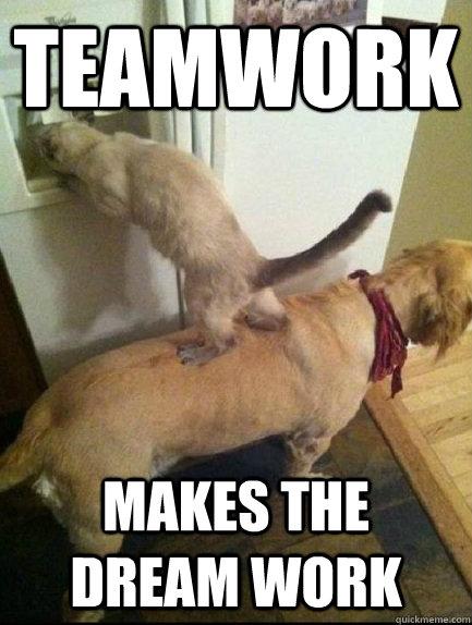teamwork makes the dream work teamwork quickmeme