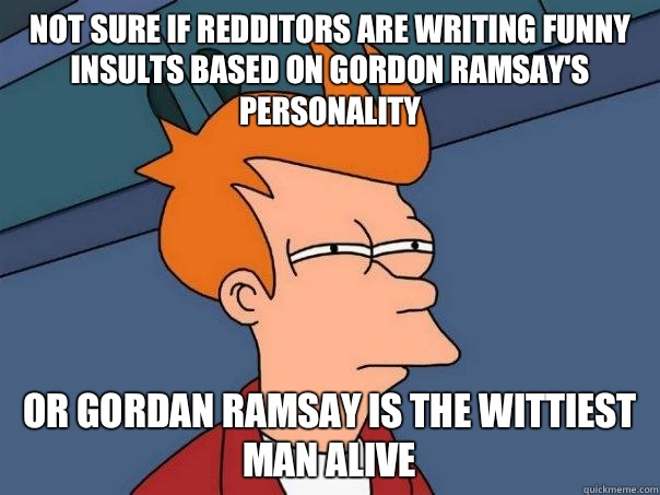 Not sure if redditors are writing funny insults based on Gordon Ramsay's personality Or Gordan Ramsay is the wittiest man alive - Not sure if redditors are writing funny insults based on Gordon Ramsay's personality Or Gordan Ramsay is the wittiest man alive  Futurama Fry