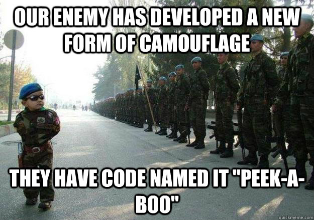 Our enemy has developed a new form of camouflage  They have code named it