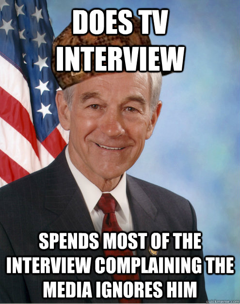 Does TV Interview  Spends most of the interview complaining the media ignores him