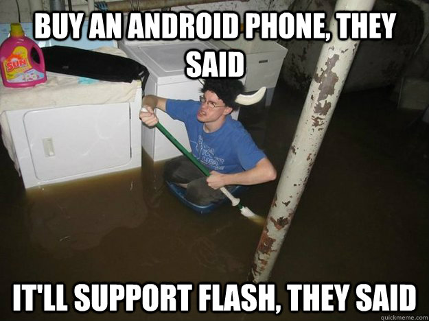 Buy an Android phone, they said It'll support Flash, they said