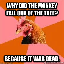 Why did the monkey fall out of the tree? because it was dead.  Anti-Anti-Joke Chicken