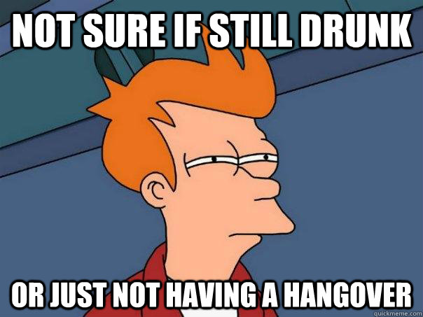 Not sure if still drunk or just not having a hangover - Not sure if still drunk or just not having a hangover  Futurama Fry