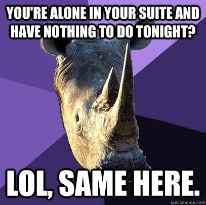you're alone in your suite and have nothing to do tonight? lol, same here. - you're alone in your suite and have nothing to do tonight? lol, same here.  Sexually Oblivious Rhino