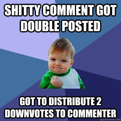 shitty comment got double posted got to distribute 2 downvotes to commenter - shitty comment got double posted got to distribute 2 downvotes to commenter  Success Kid