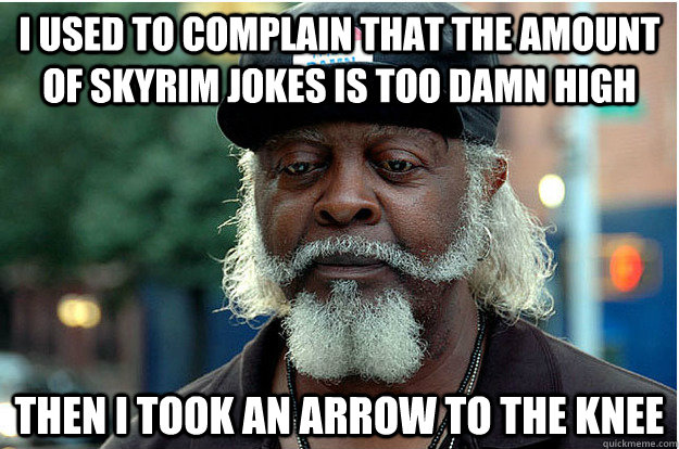 I used to complain that the amount of skyrim jokes is too damn high Then i took an arrow to the knee - I used to complain that the amount of skyrim jokes is too damn high Then i took an arrow to the knee  Jimmy Sad