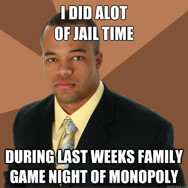I did alot  of jail time during last weeks family game night of monopoly - I did alot  of jail time during last weeks family game night of monopoly  Successful Black Man