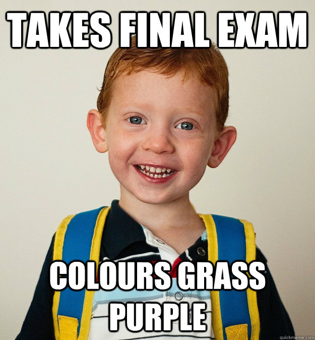 Takes final exam colours grass purple