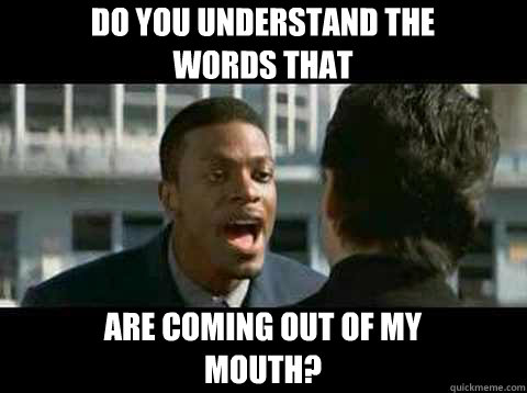 Do you understand the words that are coming out of my mouth? - Do you understand the words that are coming out of my mouth?  Rush Hour - Chris Tucker quote