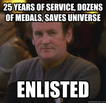 25 years of service, dozens of medals, saves universe Enlisted - 25 years of service, dozens of medals, saves universe Enlisted  Master Chief fixed