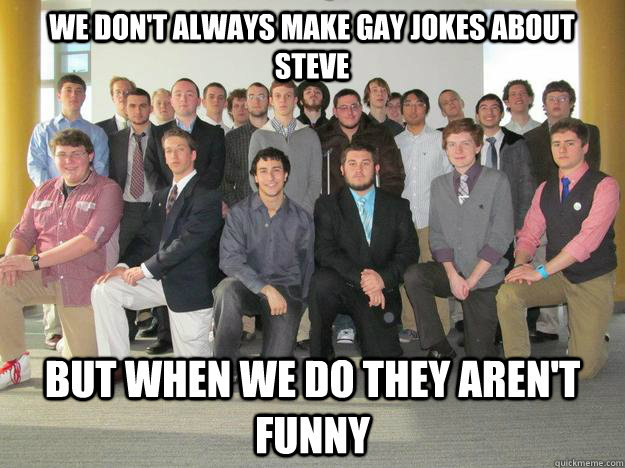 We don't always make gay jokes about steve But when we do they aren't funny  reall guys come on