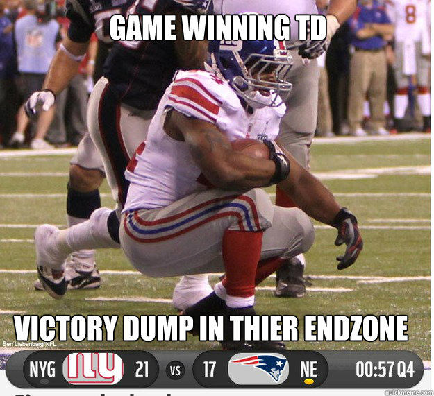 VICTORY DUMP IN THIER ENDZONE GAME WINNING TD  New York Giants