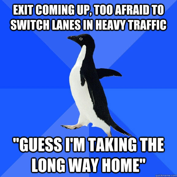 exit coming up, too afraid to switch lanes in heavy traffic