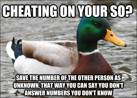 Cheating on your SO? Save the number of the other person as Unknown, that way you can say you don't answer numbers you don't know - Cheating on your SO? Save the number of the other person as Unknown, that way you can say you don't answer numbers you don't know  Actual Advice Mallard