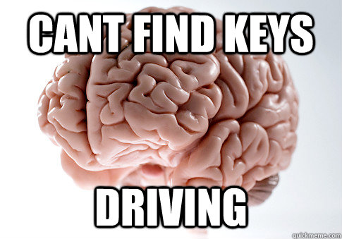 cant find keys driving - cant find keys driving  Scumbag Brain