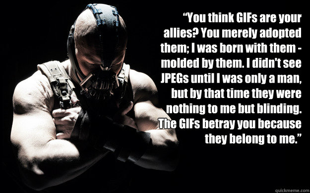"""""""You think GIFs are your allies? You merely adopted them; I was born with them - molded by them. I didn't see JPEGs until I was only a man, but by that time they were nothing to me but blinding. The GIFs betray you because they belong to me.""""  Bane Darkness"""