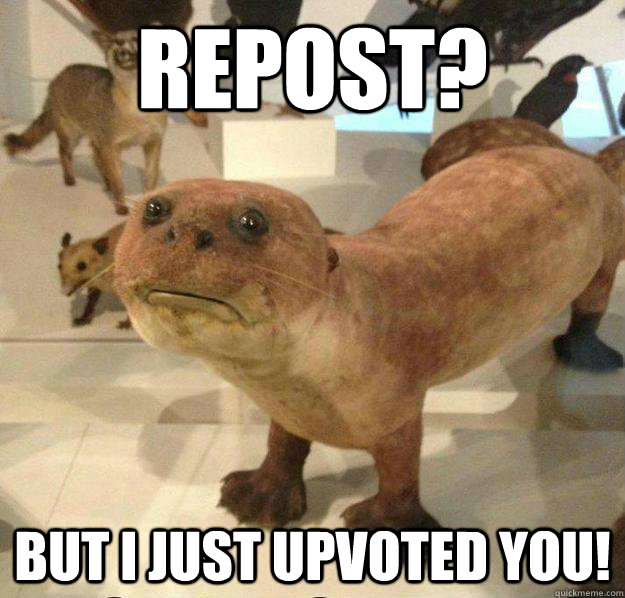 Repost? But I just upvoted you!  betrayed otter