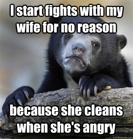 I start fights with my wife for no reason because she cleans when she's angry - I start fights with my wife for no reason because she cleans when she's angry  Confession Bear