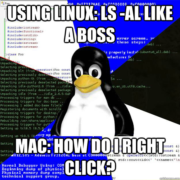 Using Linux: ls -al like a boss Mac: How do I right click? - Using Linux: ls -al like a boss Mac: How do I right click?  Computer Science Penguin
