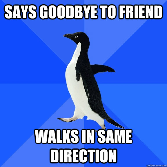 Says goodbye to friend walks in same direction - Says goodbye to friend walks in same direction  Socially Awkward Penguin