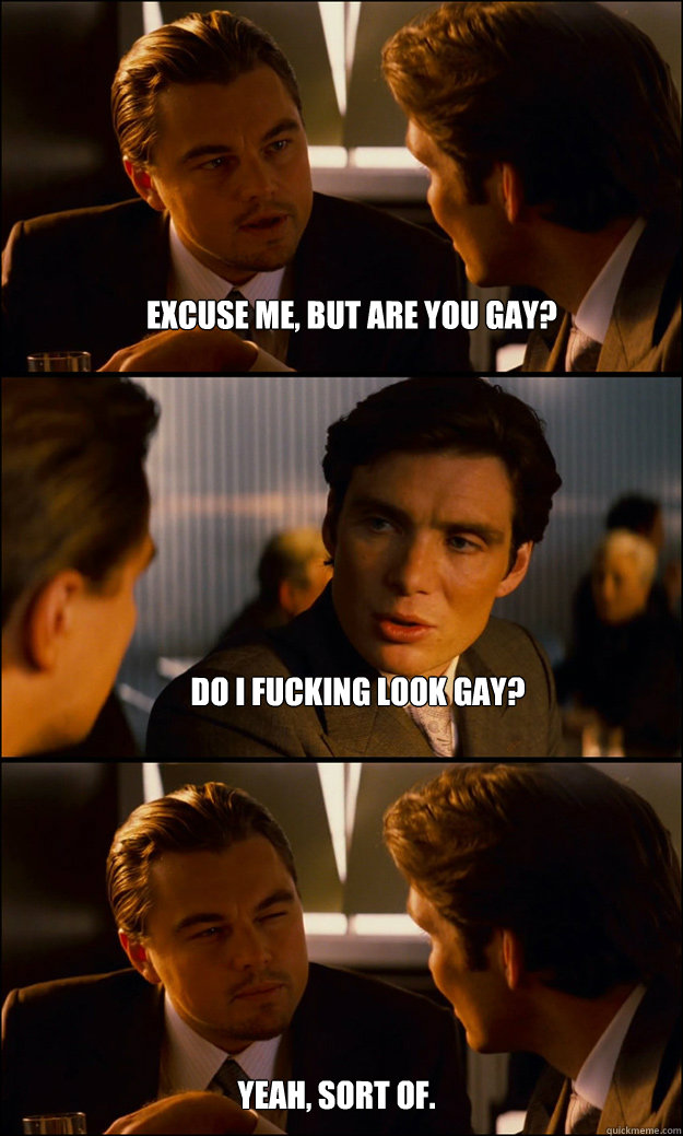 Excuse me, but are you gay? Do I fucking look gay? Yeah, sort of. - Excuse me, but are you gay? Do I fucking look gay? Yeah, sort of.  Inception