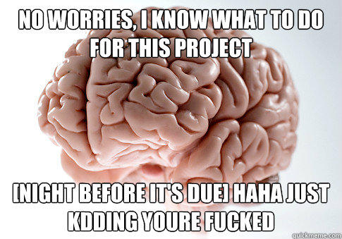 no worries, I know what to do for this project [Night before it's due] haha just kdding youre fucked - no worries, I know what to do for this project [Night before it's due] haha just kdding youre fucked  Scumbag Brain