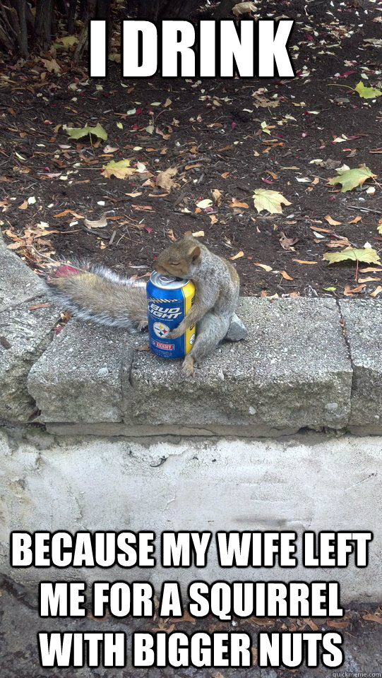 I drink because my wife left me for a squirrel with bigger nuts  - I drink because my wife left me for a squirrel with bigger nuts   Misc