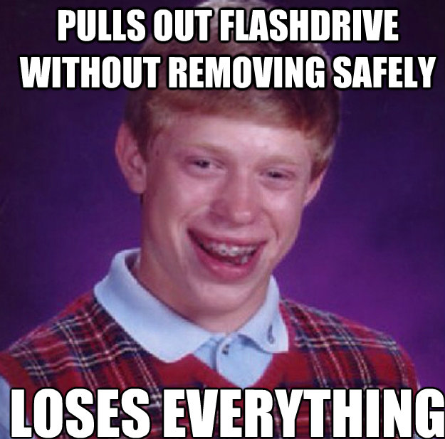 pulls out flashdrive without removing safely loses everything - pulls out flashdrive without removing safely loses everything  Bad Luck Brian